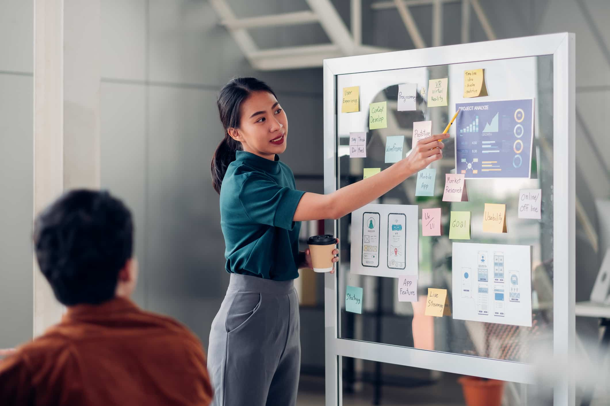woman working on the board for digital transformation